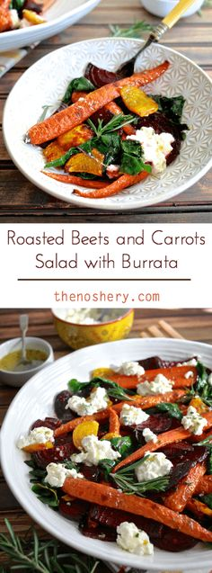 Roasted Beets & Carrots Salad with Burrata - Roasted beets and carrots with sautéed beet greens tossed with honey rosemary vinaigrette and topped with buratta. Fall Vegetable Side Dishes, Vegetable Sides, Vegetable Recipes, Veggie Dishes, Sauteed Beet Greens, Roasted Beets And Carrots, Carrot Salad, Beet Salad, Salad Bar