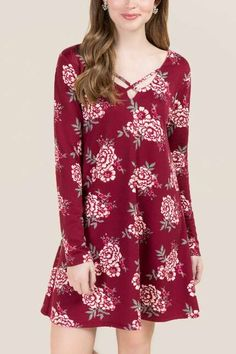 Alecia Floral French Terry Knit Dress