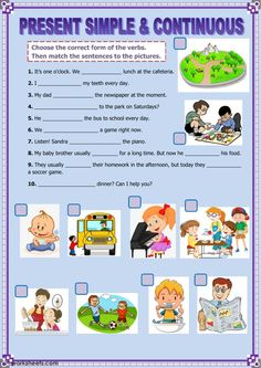 Present simple and present continuous interactive and downloadable worksheet. You can do the exercises online or download the worksheet as pdf.