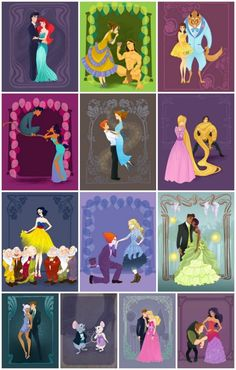 """Disney Characters Princesses Go to Prom Illustrations Kathryn Hudson the little mermaid prince eric ariel tarzan jane belle beauty and the beast aladdin jasmine peter pan wendy rapunzel flynn alice in wonderland mad hatter princess and the frog Prince Naveen Tiana, atlantis the lost empire Milo James Thatch Kidagakash """"Kida"""" Nedakh snow white seven dwarves sleeping beauty prince phillip hunchback of notre dame esmerelda the rescuers"""