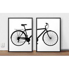 Zestaw dwóch plakatów z rowerem miejskim do oprawienia w ramy i do powieszenia na ścianę