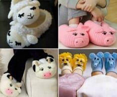 Crochet Animal Slippers Pattern