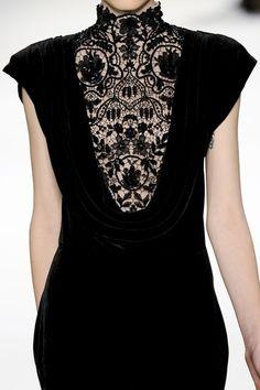 Black velvet dress with draping cowl feature & elegant high neck lace insert; fashion details // Tadashi Shoji