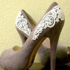 Add Lace to the back of an old pair of shoes for a Re-Vamp. Great idea!