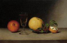 Still Life With Apples, Sherry, And Tea Cake by Raphaelle Peale