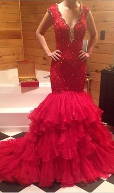 Elegant Red Evening Dress Sexy Backless Lace Mermaid Long Prom Dresses 2016 vestidos de baile ballkleider Prom Gown