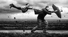 Fantastic Photoshop work from Adrian Sommeling. I can almost feel the wind and rain. Rain Photography, Surrealism Photography, Conceptual Photography, Creative Photography, White Photography, Stunning Photography, Photography Guide, Blowin' In The Wind, Wind And Rain