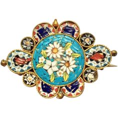 Multicolored Venetian-style mosaic brooch set in goldtone metal