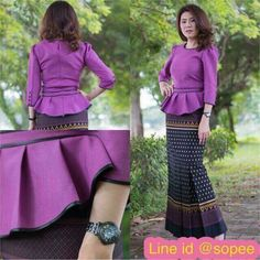 Myanmar Traditional Dress, African Traditional Dresses, Traditional Outfits, African Fashion Dresses, Fashion Outfits, Lace Skirt And Blouse, Thai Wedding Dress, Sleeves Designs For Dresses, Batik Fashion