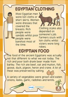 KS2 Ancient Egypt- Food and Clothing Factfile