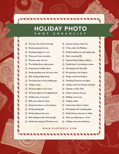 Holiday photo checklist. #photography #holiday #christmas Click here to download the PDF >> http://www.slideshowblog.com/?p=5871