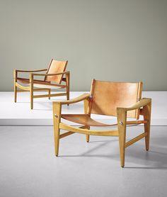 Hans Wegner; Oak, Leather and Chromed Metal 'Sawbuck' Chairs for Johannes Hansen, 1959.