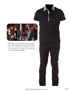 Kurt (played by Chris Colfer) black polo shirt and jeans. (Various Seasons) Black polo shirt and black jeans ensemble worn by Kurt (Played by Chris Colfer) in an unspecified episode.