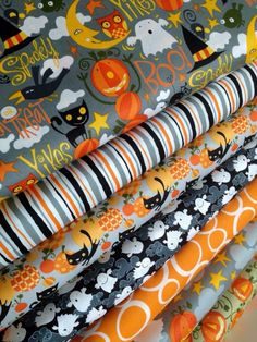 Happy Halloween fabric by David Walker Fabric Shoppe Fabrics- Fat Quarter bundle, 7 total by fabricshoppe on Etsy fabric crafts, Your place to buy and sell all things handmade Halloween Fabric, Halloween Prints, Happy Halloween, David Walker, Handmade Fabric Bags, Fabric Bracelets, Free Spirit Fabrics, Fabulous Fabrics, Fabric Shop