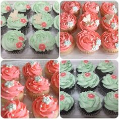 Pink Wedding Cakes Coral And Mint Wedding Cupcakes Coral And Mint Wedding Cupcakes Coral and Mint Wedding Cupcakes! Wedding Shower Cupcakes, Wedding Cakes With Cupcakes, Baby Shower Cakes, Cupcake Cakes, Bridal Shower, Coral Wedding Cakes, Wedding Cake Prices, Big Cakes, Fancy Cakes