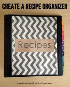 Recipe Binder. So simple and duh, yet my recipes are everywhere! Goal for the week...!