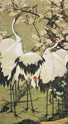 Japanese Art Print: Cranes and Plum Blossoms - Fine Art Reproduction