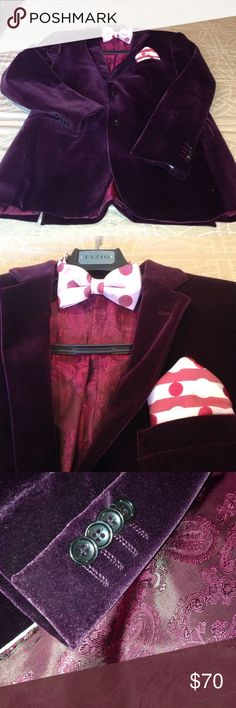 Tazio Italian velvet blazer/bow tie/handkerchief Wine 2 button Italian made velvet blazer. Quality in the details. The cuffs have actual button holes. The Hand sewn lining with piping is as beautiful as the outside of this blazer.  2 vents in the back. Worn once for New Years Eve. Tazio/Italy Suits & Blazers Sport Coats & Blazers