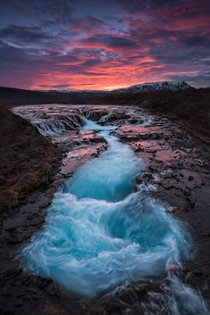 Natur | raymo schreibt zum Foto: Sunset at the waterfall Brúarfoss / Iceland  Nikon D800E with 14-24mm f/2.8G ED AF-S NIKKOR Lucroit Filter System.