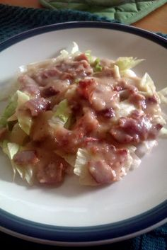 "Hot Bacon Dressing       (PA Dutch)! ""This is a staple at our holidays meals. Sweet, tangy, smoky, yummy!!"""
