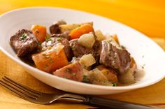 This can easily be cut in half for my 2 qt slow cooker.  Easy Slow-Cooker Beef Stew recipe