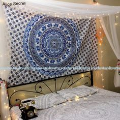 Hot Soft Bedding Outlet Mandala Tapestry Crystal Arrays Blue Beautiful Wall Art Tapestry Indian Sheet belgium New Bedding