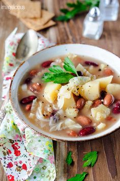 Potato, Bean and Savoy Cabbage Vegan Soup - rich and filling soup, perfect for cold weather and quick to make