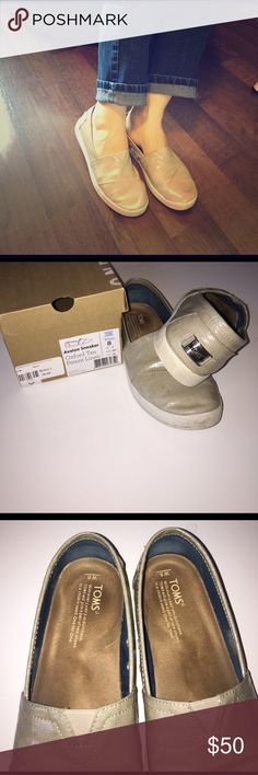 TOMS tan patent shoe These TOMS are USED, but have a lot more life to give. TOMS Shoes Flats & Loafers