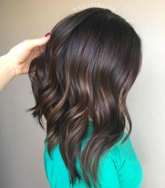 Chocolate Brown Lob With Subtle Highlights