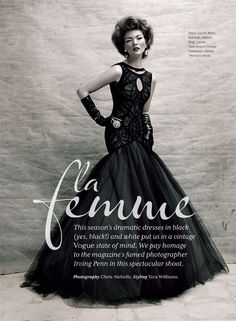 Editorial titled La Femme for the Fall Winter 2012 issue of Wedding Bells magazine paying homage to legendary fashion photographer Irving Penn Photographed by Chris Nicholls