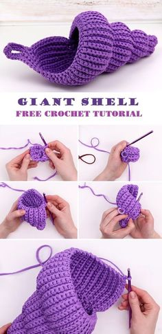 Crochet Giant Shell Tutorial - Design Peak - - Learn how to crochet a giant decorative shell. you can use it a small storage or decorative piece. the tutorial is easy, however it does take some time and patience. You can stop at the size choose. Crochet Home, Crochet Crafts, Yarn Crafts, Crochet Projects, Free Crochet, Knit Crochet, Knitting Projects, Russian Crochet, Crotchet