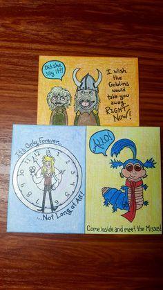 Labyrinth Swap! ATCs by Kae.Ryan Cork Art, Artist Trading Cards, Tim Burton, Atc, Goblin, Minions, Miniatures, Painting, The Minions