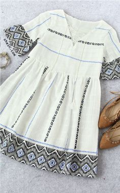 Fall Style: White Bell Sleeve Lace Up Front Tassel Embroidery ...