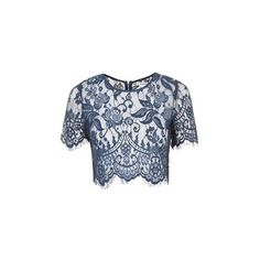 Lace Crop Top by Glamorous Petites (1.960 RUB) ❤ liked on Polyvore featuring tops, navy blue, topshop tops, lace detail top, lace top, lace crop top and cut-out crop tops