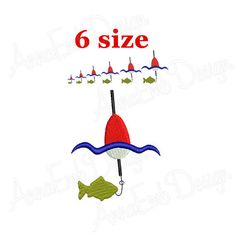 Fishing Embroidery Design. Fishing Pole Embroidery Design.