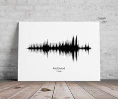 Soundwave print, Radiohed Creep, Sound Wave art, Printable files, Instant Download, Print me , Sound Wave  Print, Radiohead Wave Art, Radiohead, Sound Waves, Printable, Handmade Gifts, Vintage, Etsy, Kid Craft Gifts