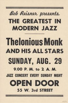 Thelonious Monk gig poster (1960s)