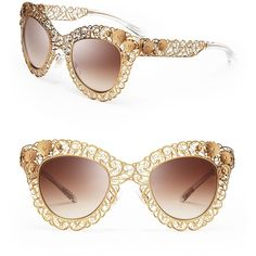Dolce&Gabbana Floral Filigree Cat Eye Sunglasses ($490) ❤ liked on Polyvore featuring accessories, eyewear, sunglasses, glasses, antique gold, logo sunglasses, antique glasses, dolce gabbana glasses, floral sunglasses and dolce gabbana eyewear