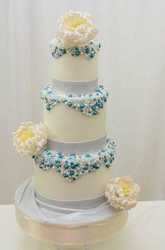 Wedding Cake with Beads and Sugar Peonies - by sugarpixy @ CakesDecor.com - cake decorating website