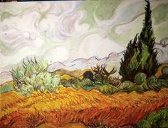 Copy from Van Gogh's artwork by oil sticks