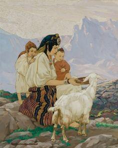 La bergère donnant à manger à un chèvre von Yvonne Kleiss-Herzig