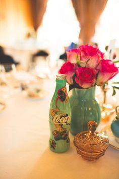 Floral table centre pieces/table decor in vintage jugs...