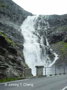 Looking up at the upper sections of Stigfossen from the Trollstigen road