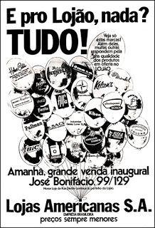 Anúncio Lojas Americanas - 1970
