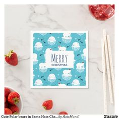 Cute Polar bears in Santa Hats Christmas Pattern Napkins Arctic Polar Bears, Cute Polar Bear, Light Blue Background, Ecru Color, Santa Hat, Paper Napkins, Merry Christmas, Presentation, Hats
