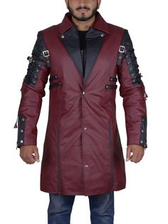 Color: Maroon Material:Genuine leather Pockets: Inner Side Collar: Lapel Design Knee Length Stylish Costume Coat Front: Zipper Closure With Open Style Sleev Punk Rave, Cosplay Costumes, Long Coats, Celebs, Stylish, Sleeves, Leather, Jackets, Black