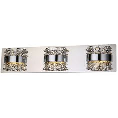 8999 x3 lowes one for each washroom bel air lighting 3 light shop home designs aquila chrome crystal accent integrated led bathroom vanity light at lowes canada find our selection of bathroom vanity lighting at the aloadofball Images