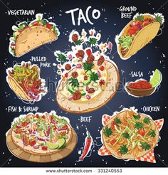 Hand drawn vector illustration of 6 most popular Taco varieties including beef taco ground beef taco vegetarian taco pulled pork taco fish and shrimp taco chicken taco with salsa and red pepper. Menue Design, Recipe Drawing, Cute Food Art, Mexican Menu, My Burger, Food Sketch, Vegetarian Tacos, Watercolor Food, Food Painting