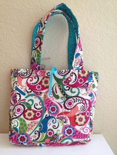 Bright and Bold Peacock Feather Inspired Reversible Tote on Etsy, $25.00
