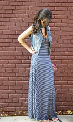 jean vest and maxi dress. Fool proof combo!